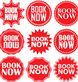 Book now red label Book now red sign Book now red vector image vector image