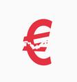 crashed euro sign financial crisis vector image