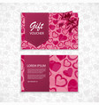 gift voucher with a realistic bow and heart vector image