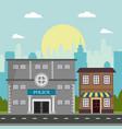 police store shop building board natural city vector image