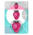 Abstract poster with strawberries in a pop art vector image
