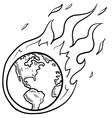 doodle globe warming fire vector image vector image