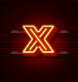 neon city font letter x signboard vector image