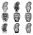rock and roll set of hand drawn phrase on guitar vector image