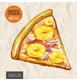 A slice of hawaiian pizza vector image