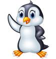 Cute cartoon animal penguin waving isolated on whi vector image