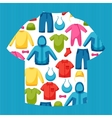 Baby clothes Background with clothing items for vector image