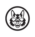 Coyote Sunglasses Circle Retro vector image vector image