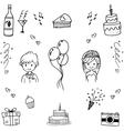Doodle hand draw wedding party vector image