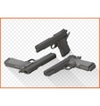 Handgun pistols flat isometric vector image