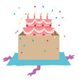 birthday cake with candles in the box vector image