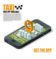 mobile phone with city landscape online taxi vector image