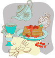 Vintage color morning tea background vector image