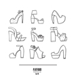 Lovely set with stylish fashion shoes hand drawn vector image