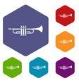 brass trumpet icons set vector image