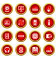 computer icon red circle set vector image