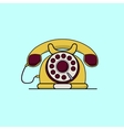 Vintage yellow telephone Line art flat vector image