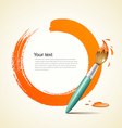 Paint brush orange background vector image