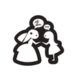 Flat icon in black and white bride friend vector image