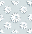 grey seamless pattern with decorative 3d chamomile vector image