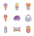 newborn baby icons set flat style vector image