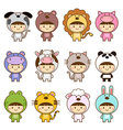 Set of kids in cute animals costumes vector image