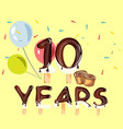 10 years anniversary celebration logo birthday vector image