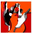 dancing girls in red vector image vector image