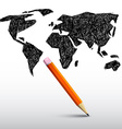 World Map with Pencil vector image vector image