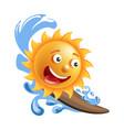 sun smile cartoon emoticon summer ocean surfing vector image
