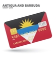 Credit card with Antigua and Barbuda flag vector image