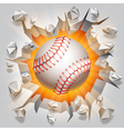 Baseball ball and cracked wall vector image