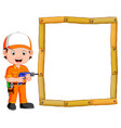 carpenter with hand drill and wood frame vector image
