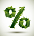 Green percent geometric icon made in 3d modern vector image