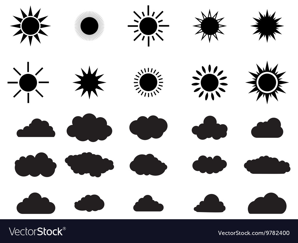 Big set of summer shining sun and clouds vector