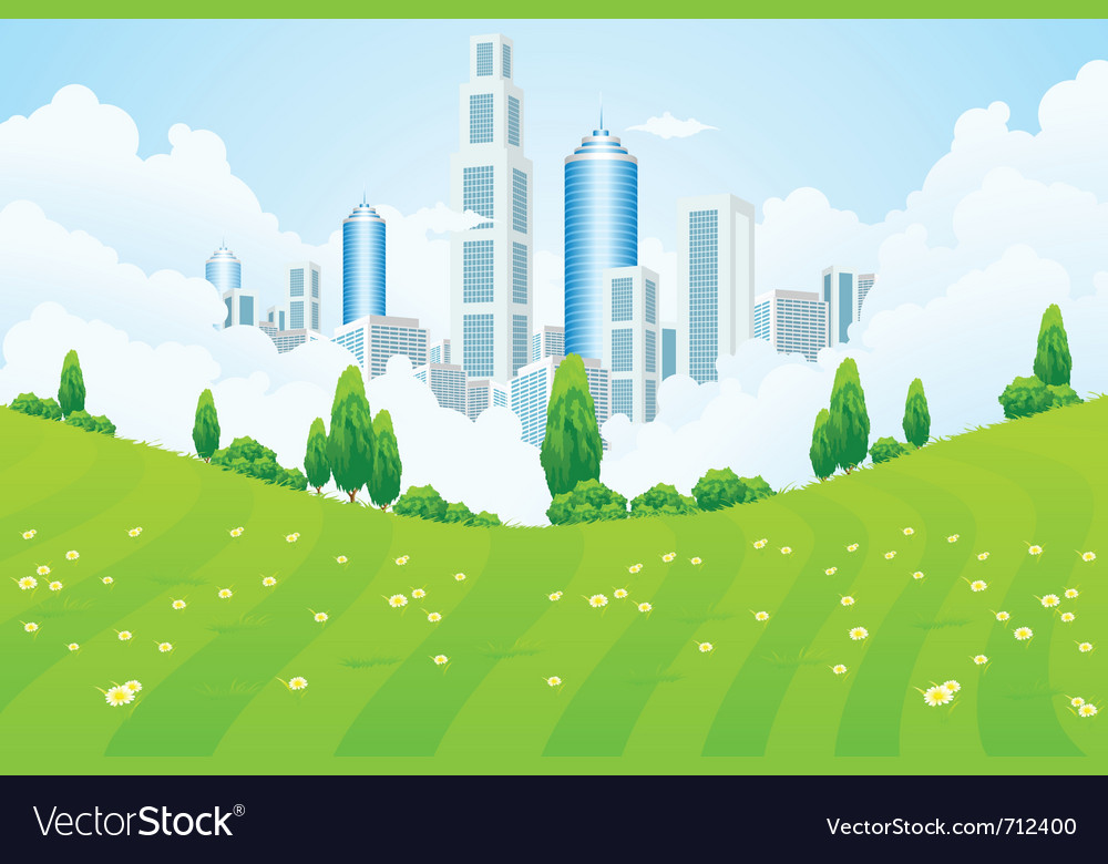 Park and city vector