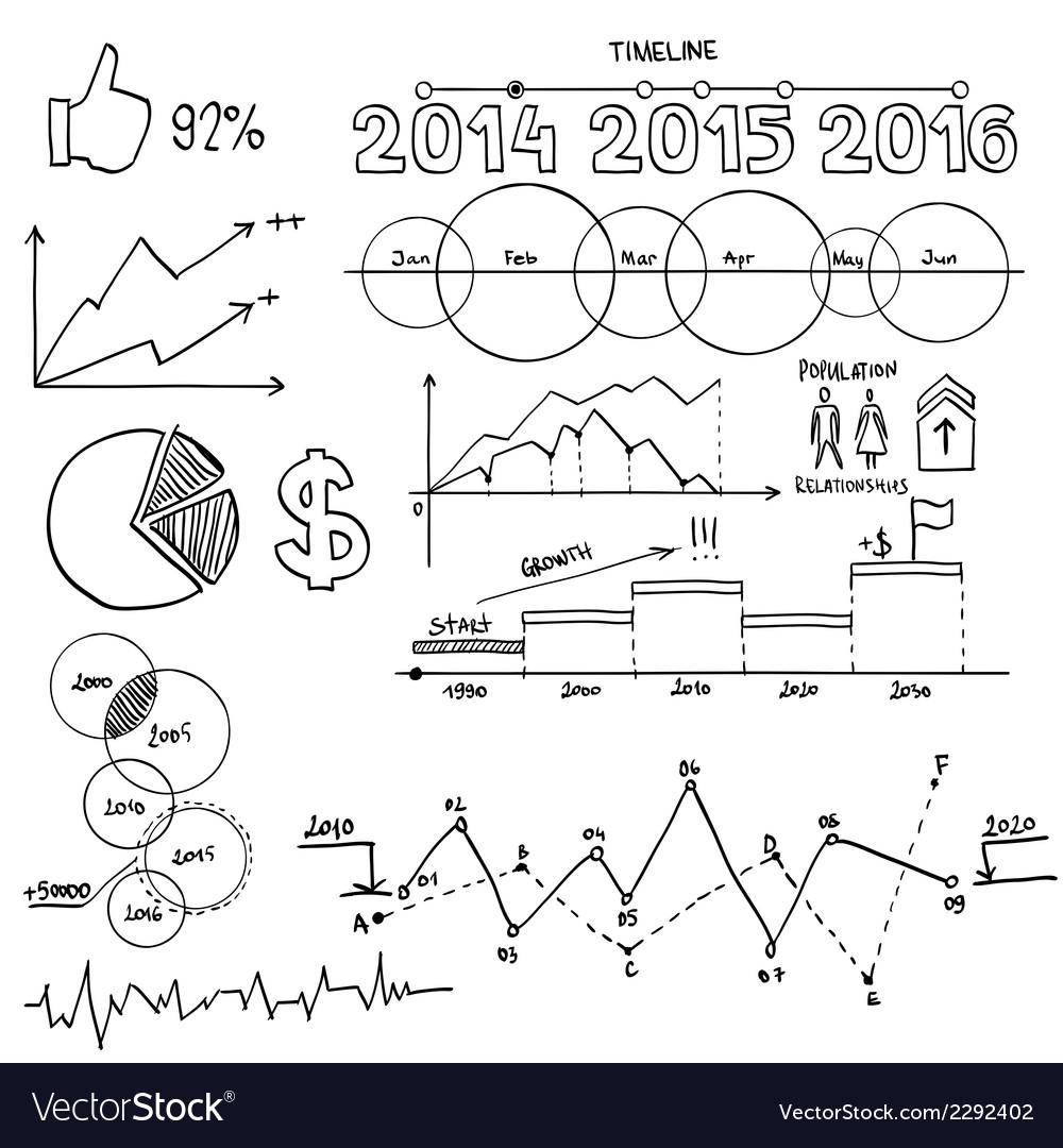 Business and finanse hand draw doodle elements vector