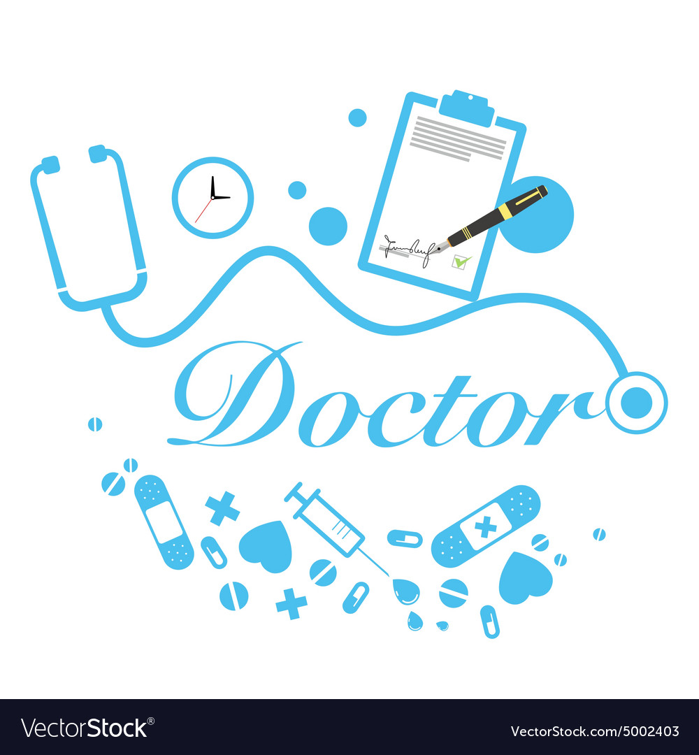 Doctor title with medical instruments vector