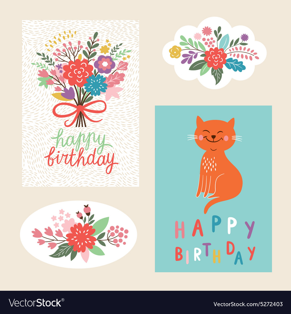 Set of happy birthday design cards vector