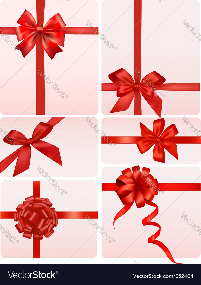 Red gift bows vector