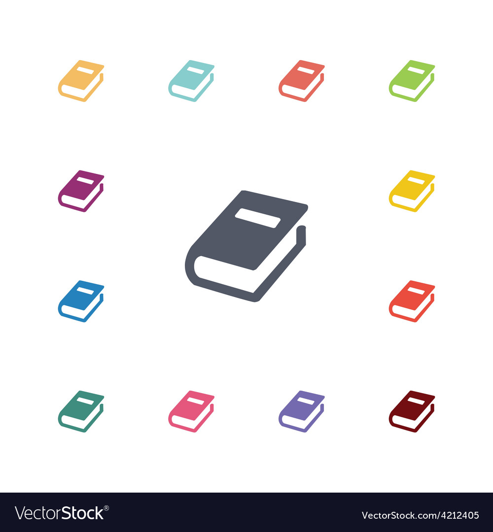Books flat icons set vector
