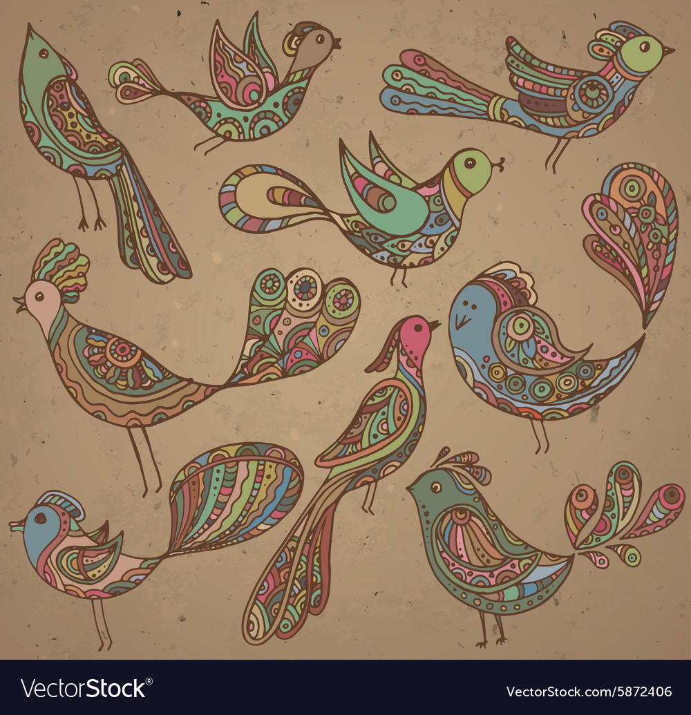 Set of cute ornamental hand drawn birds vector