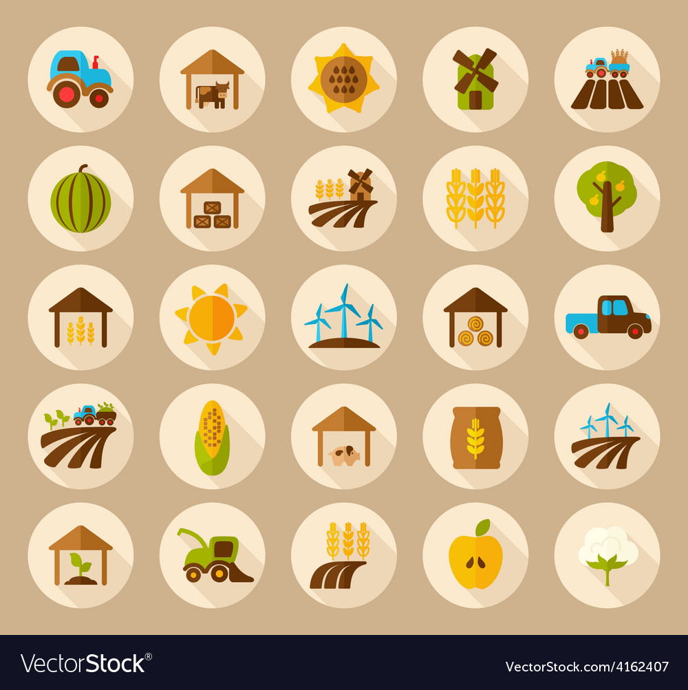 Farm field flat icon with long shadow vector