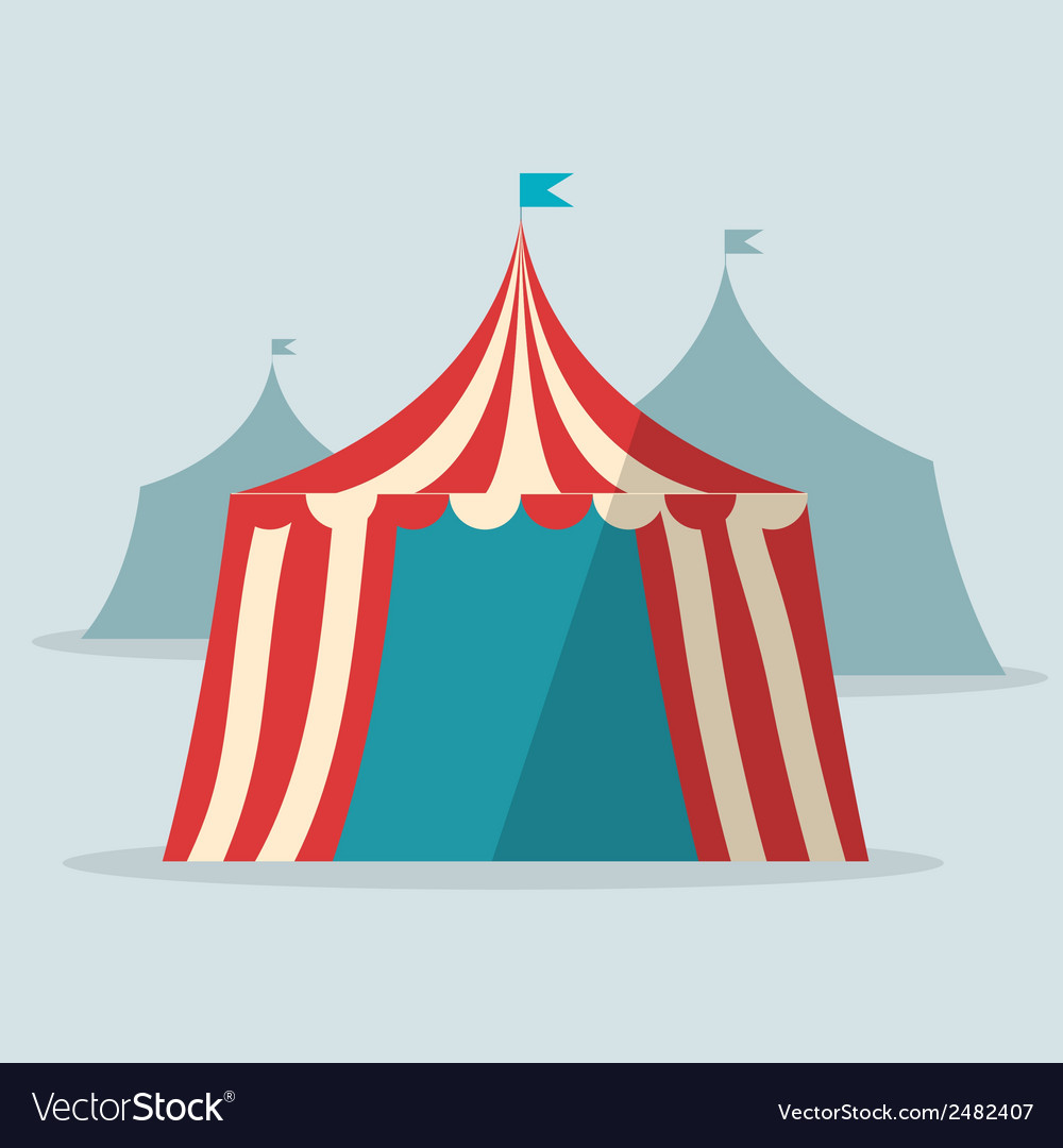 Vintage circus tent flat design vector