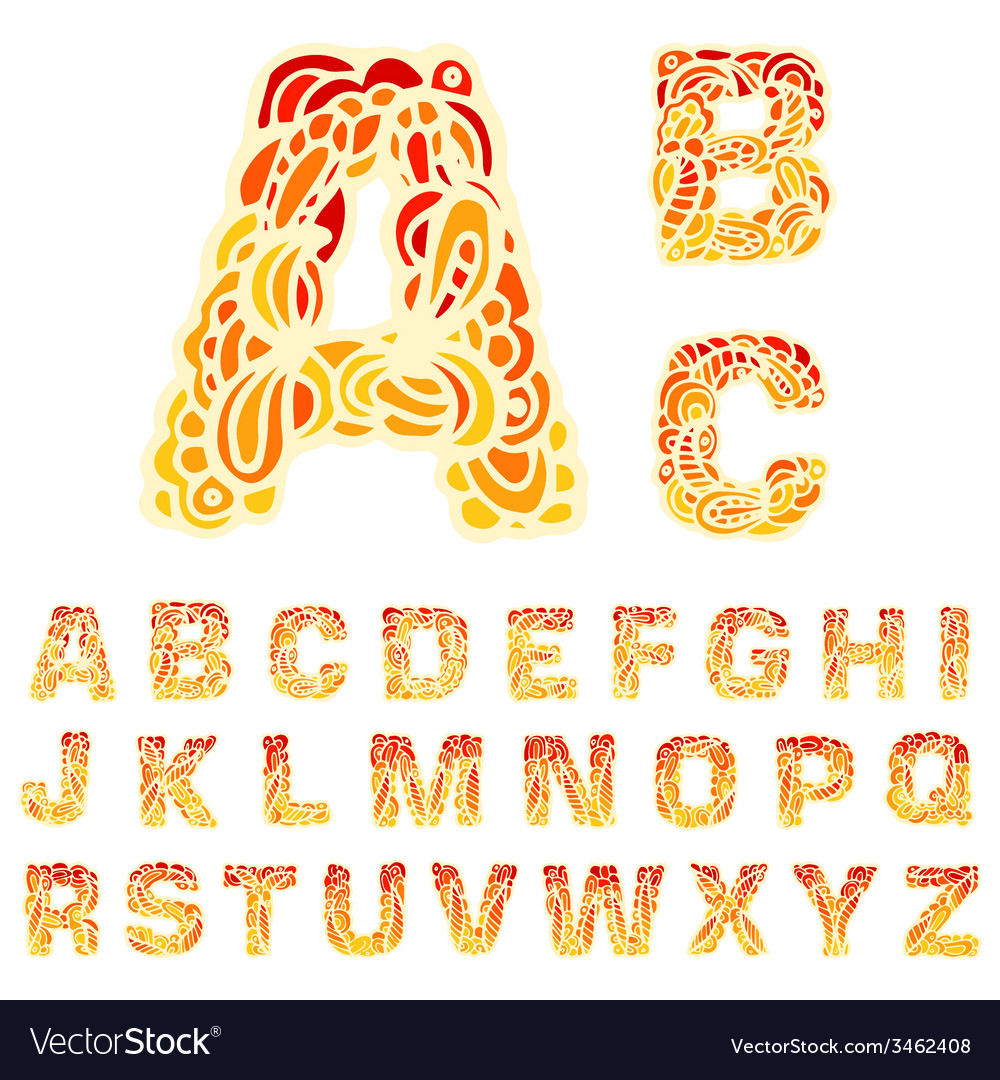 Fire set font alphabet text on a red background vector