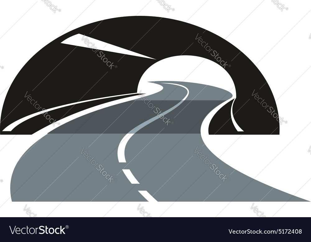 Road icon winding through a tunnel vector