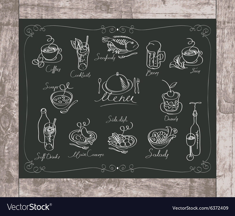 Different dishes menu vector