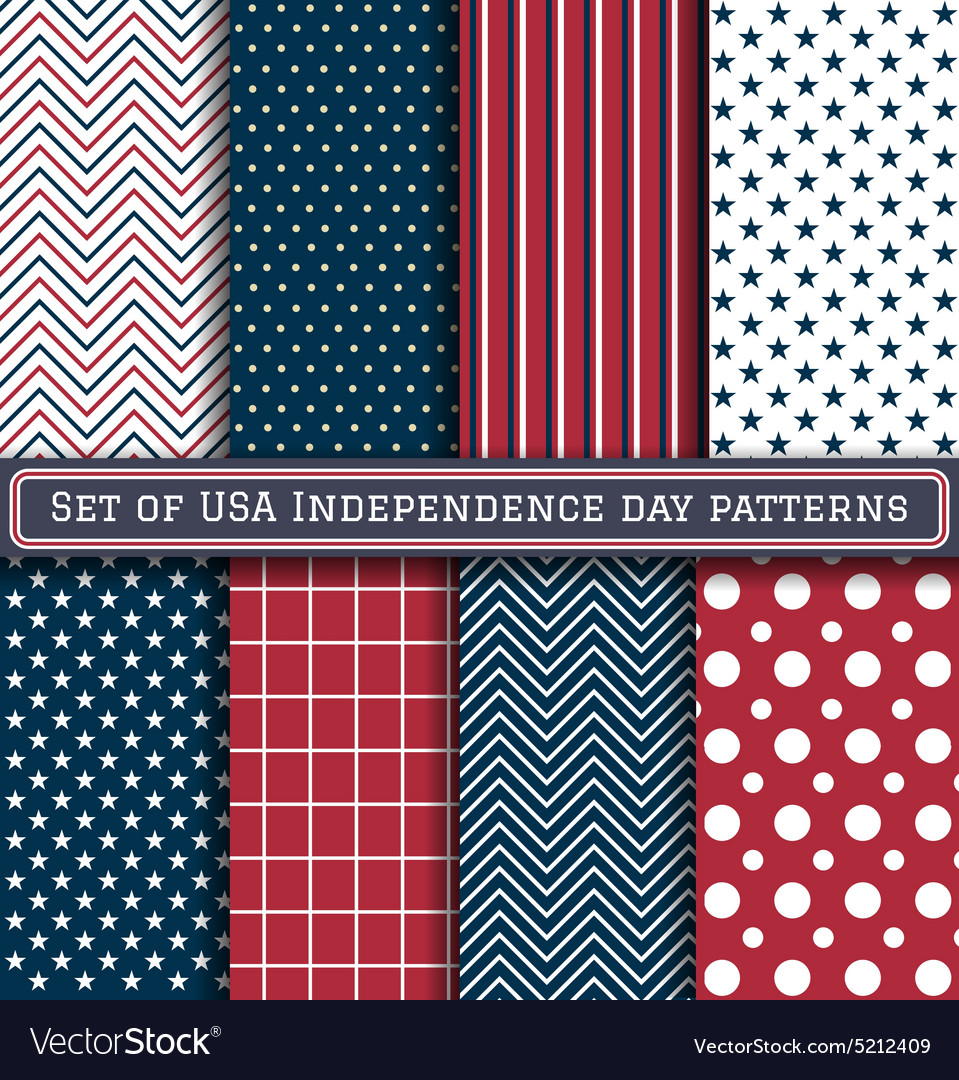 Set of usa independence day patterns vector