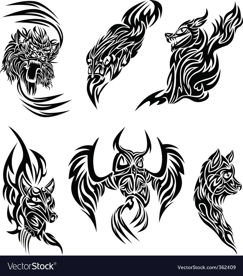 Wild animals tattoo vector