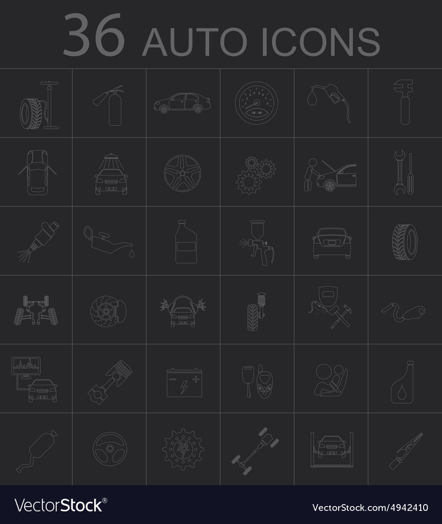 Set of car service icons vector